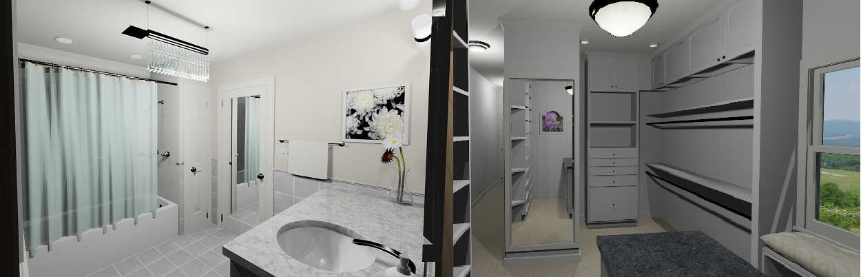 3D rendering of a bathroom & closet