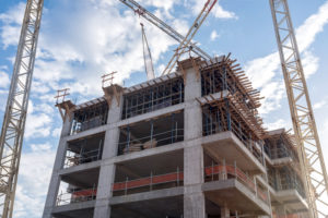 New Building Being Constructed With Use Of Tower Crane