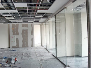 Commercial construction in a large office building