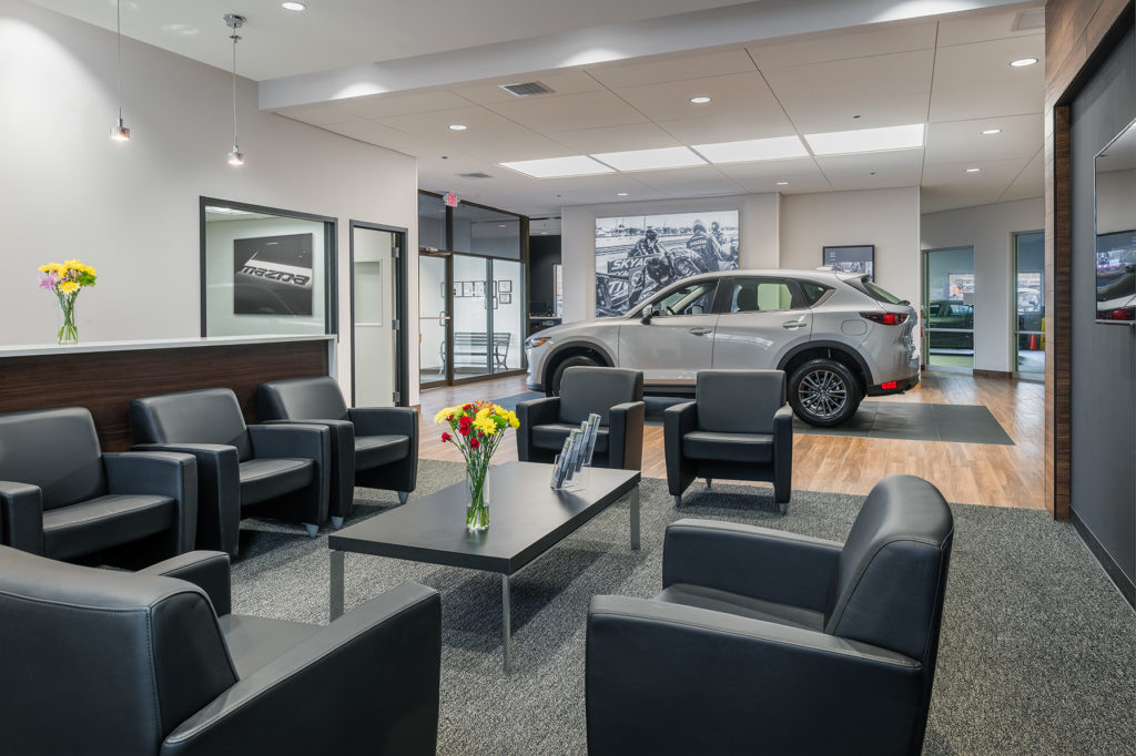 Interior of a modern Mazda car dealership