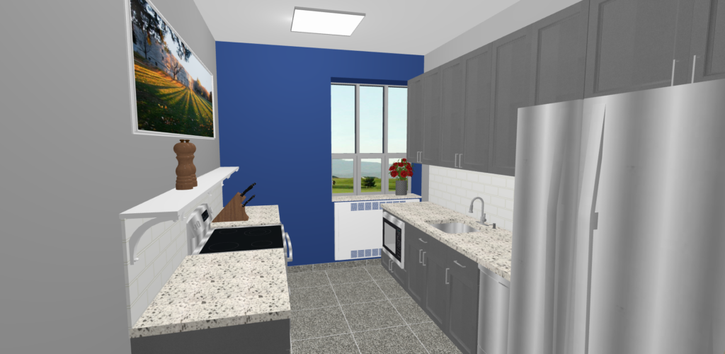 a 3d render of a modern kitchen